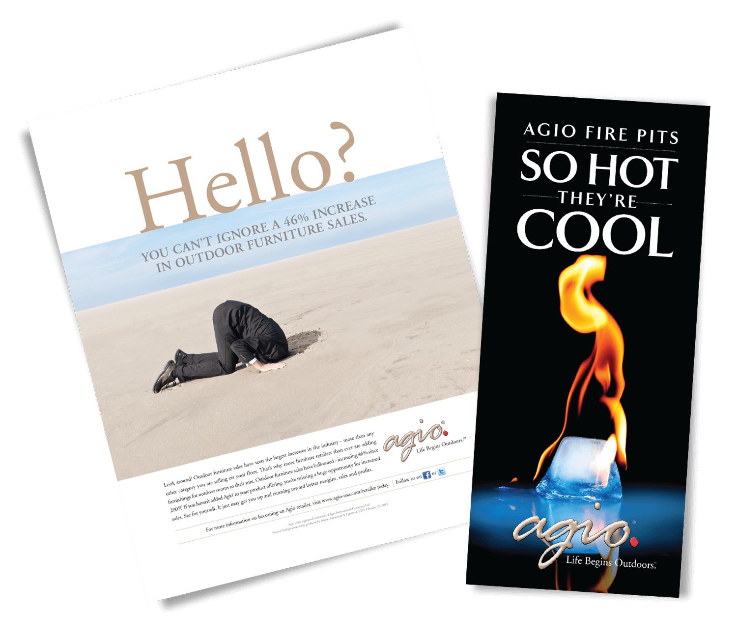 Agio print ad and fire pit banner