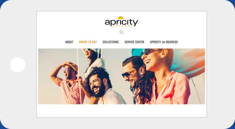 Apricity website iPhone horizontal view