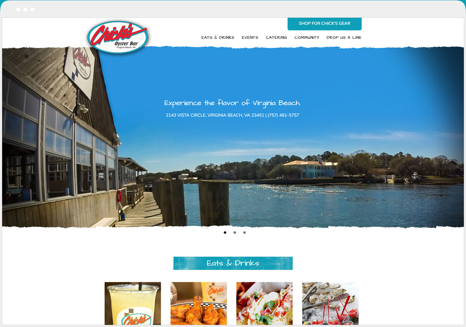 Chick's Oyster Bar website desktop view