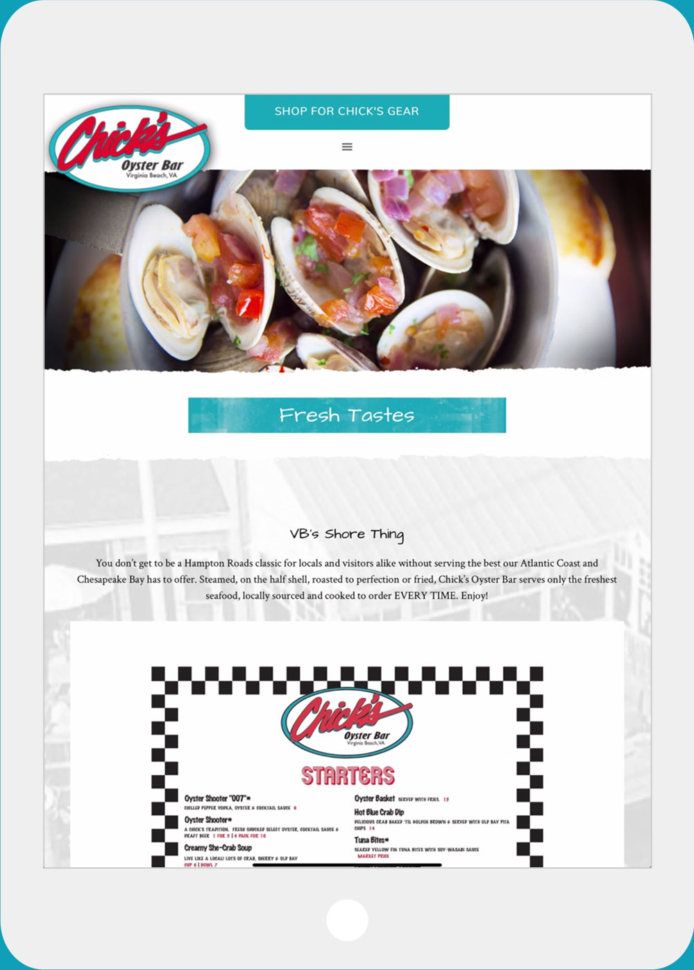 Chick's Oyster Bar website iPad view