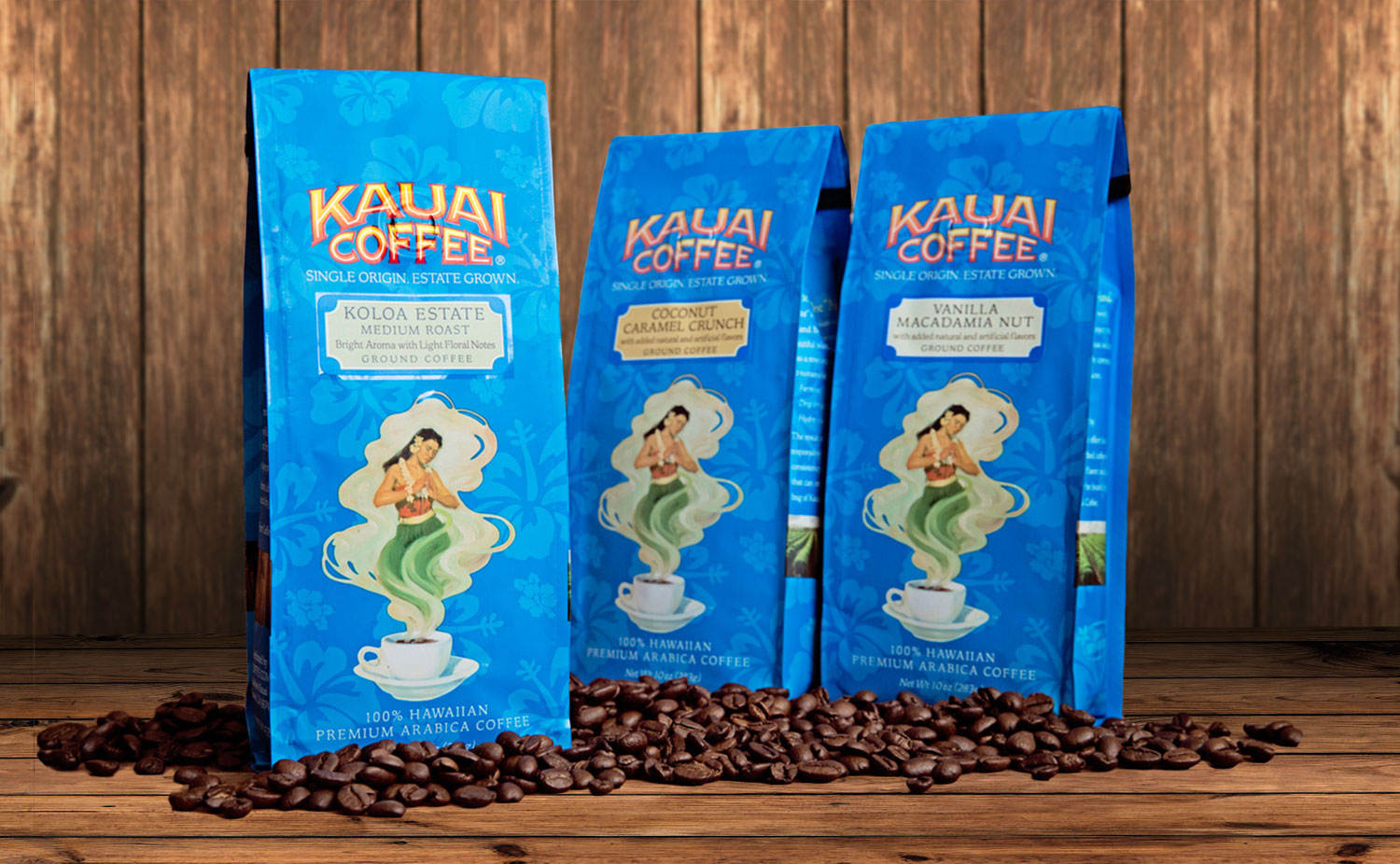 Kauai packaging - blue bags