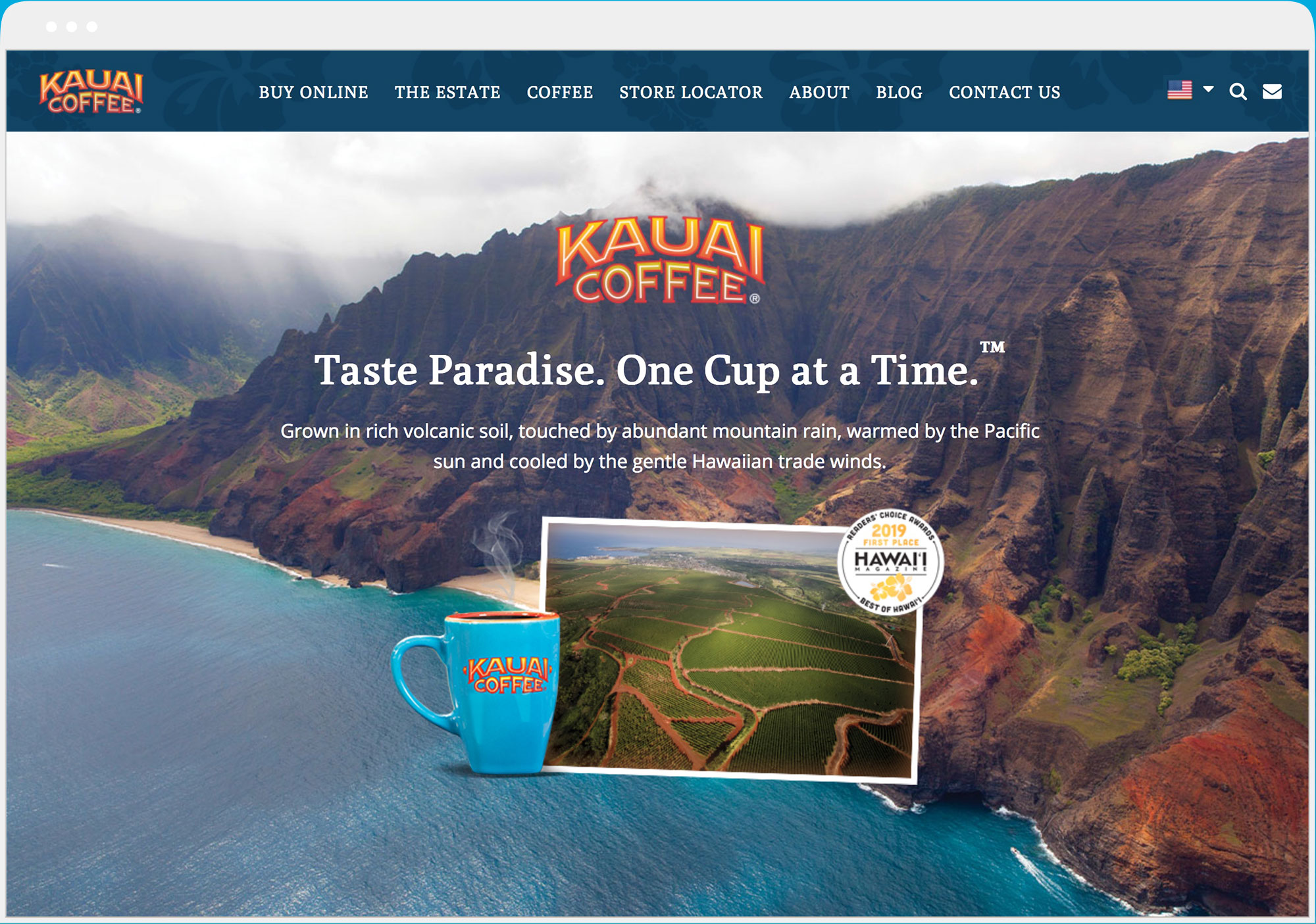 Kauai Coffee website desktop view