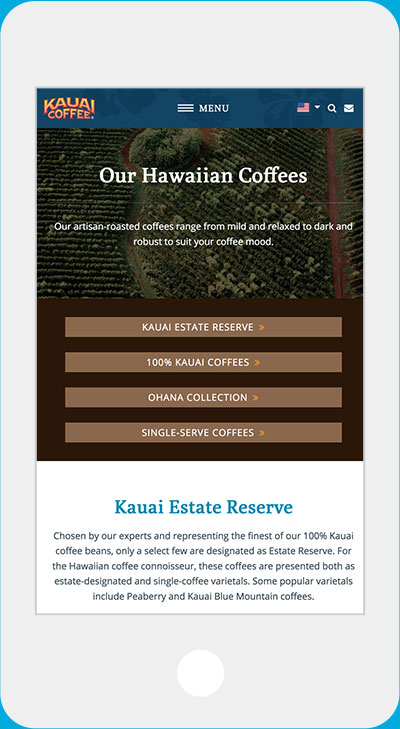 Kauai Coffee website iPhone vertical view
