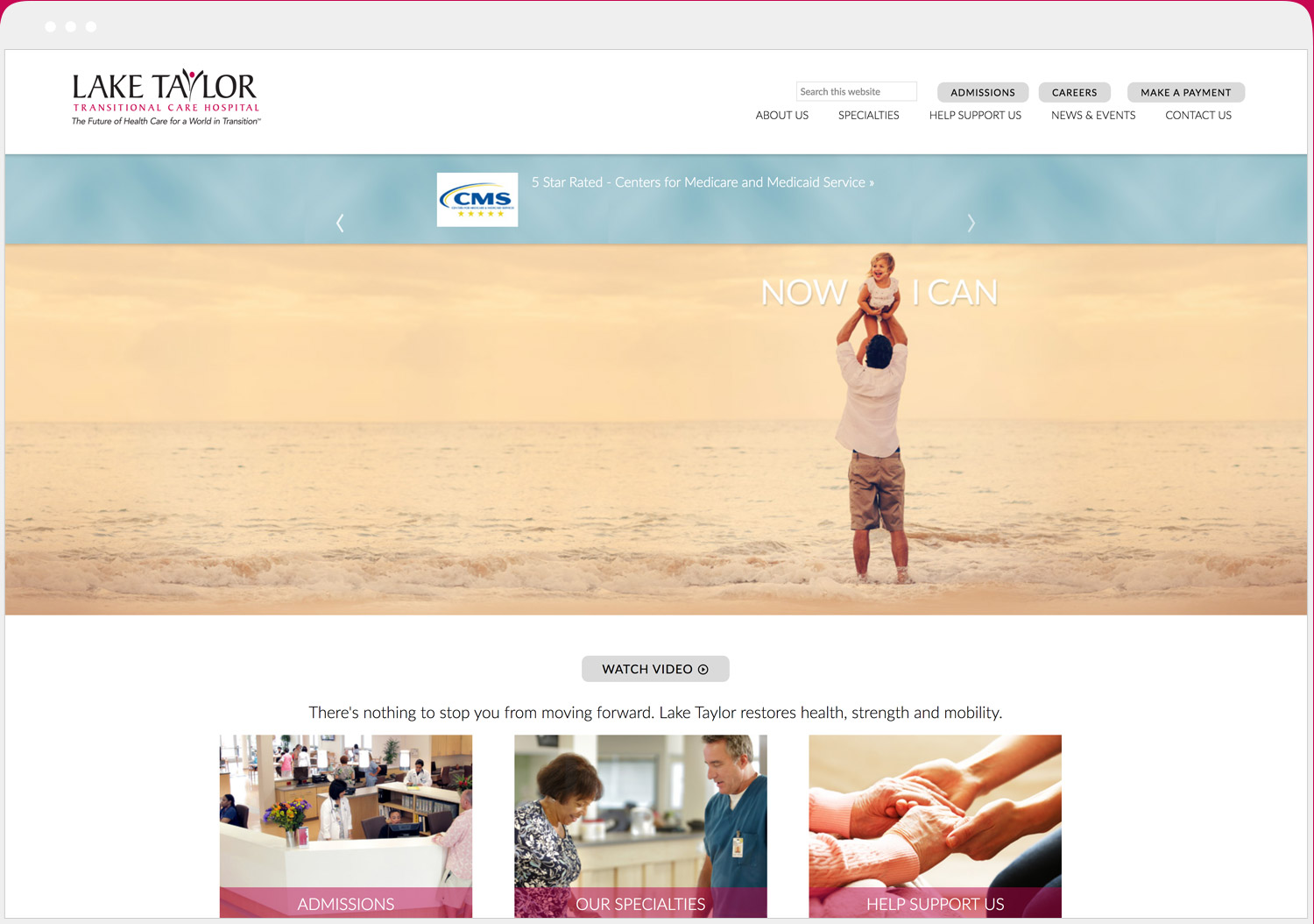 Lake Taylor Transitional Hospital website desktop view