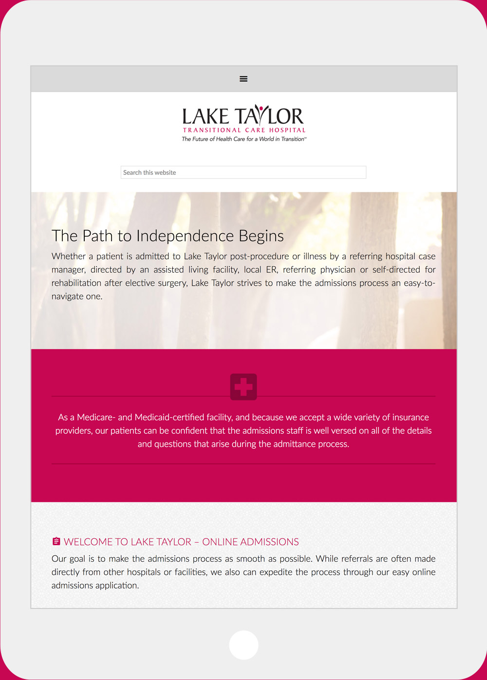 Lake Taylor Transitional Hospital website iPad view