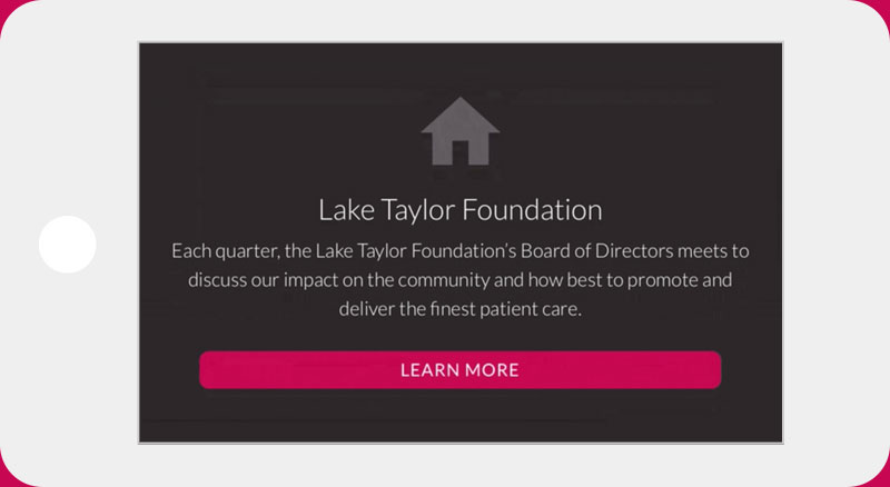 Lake Taylor Transitional Hospital website iPhone horizontal view
