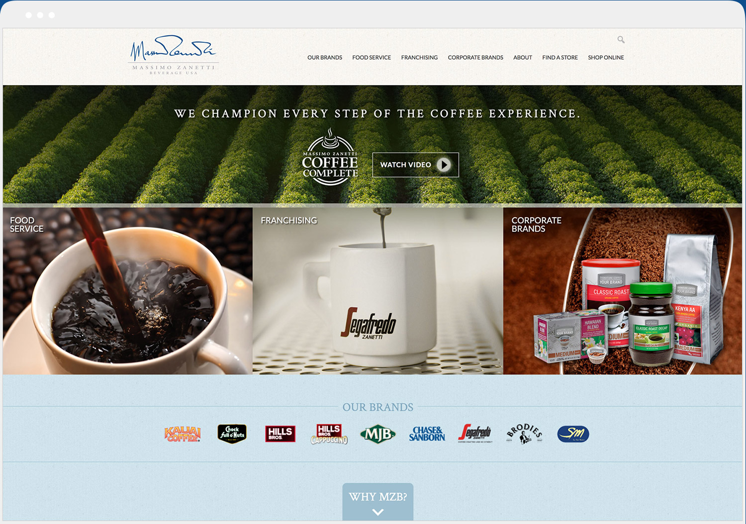Massimo Zanetti Beverage website desktop view
