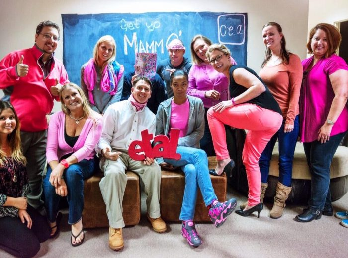 OEA employees dressed in pink