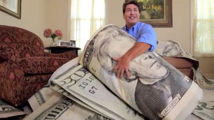 Man with huge 20 dollar bill
